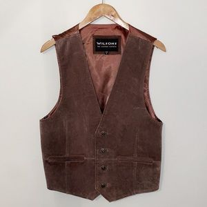 WILSONS LEATHER Brown Suede Vest Single Breasted